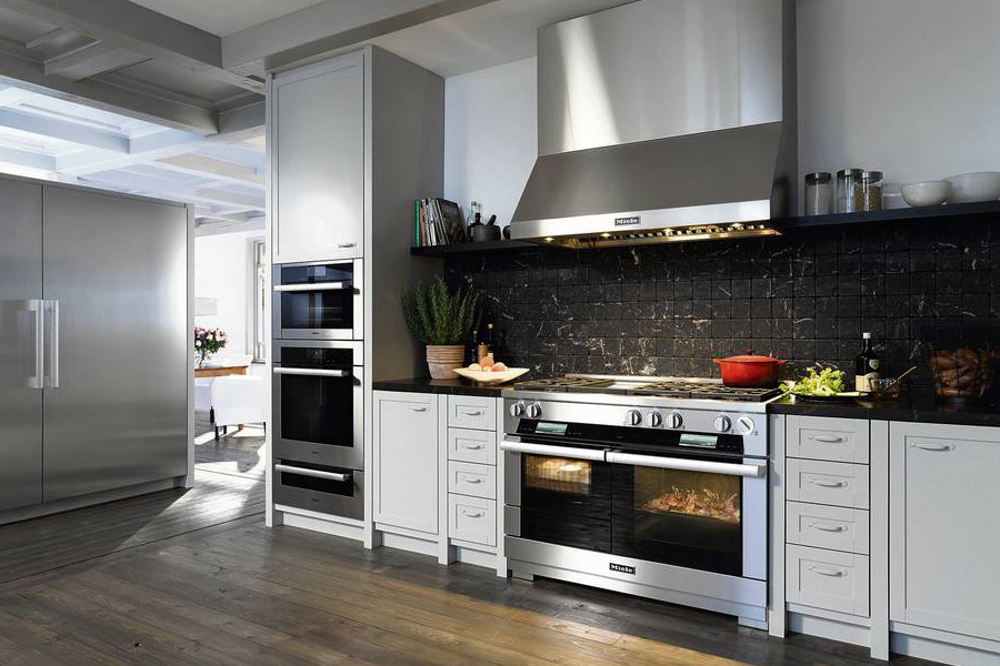 modern kitchen appliances, fridge, stove, oven