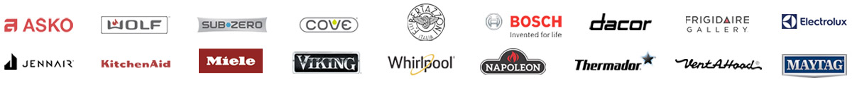 major appliances Wolf, Sub Zero, Bosch, Frigidaire, KitchenAid, Miele, Viking, Whirlpool, Maytag